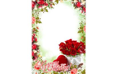 File psd thiết kế khung ảnh hoa hồng Happy Birthday