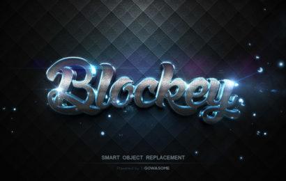 Chia sẻ file psd hiệu ứng chữ ánh sáng xanh 3d blockey đẹp