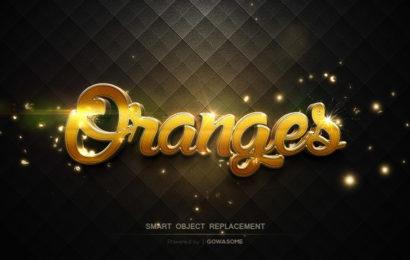 Chia sẻ file psd thiết kế hiệu ứng chữ đốm sáng vàng 3d oranges đẹp