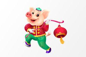 psd png chú lợn cầm lồng đèn vui nhộn đón chào năm mới