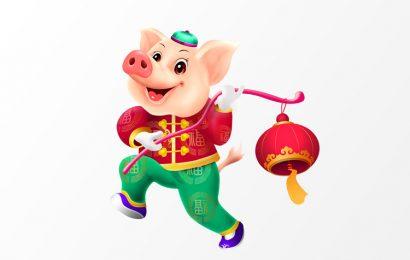 Chia sẻ file psd png chú lợn cầm lồng đèn vui nhộn đón chào năm mới